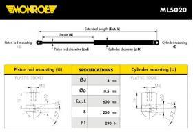 Monroe amortizer gepeka ML5020 Peugeot 205