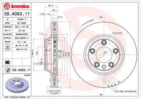 Brembo 09.A063.11 kočioni disk-desni Audi Q7/VW Touareg/Porsche Cayenne