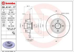 Brembo 08.A141.17 kočioni disk sa ležajem Renault Clio III/Megane II/Modus/Grand Modus/Thalia II/Twingo II/Wind