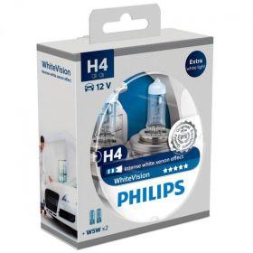 Philips 12V H4 60/55W + W5W White Vision Xenon Effect 2+2kom.