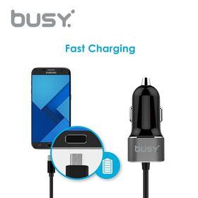 Busy punjač telefona za auto 2,4A sa mikro USB spiralnim rastegljivim kablom za Android i USB priključkom za iPhone 50699